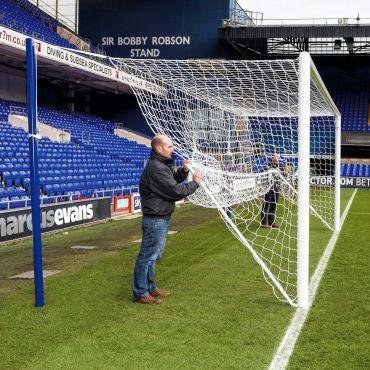 Stadium Soccer Goal Conversion Kit (Stanchions, Nets) [Pair]