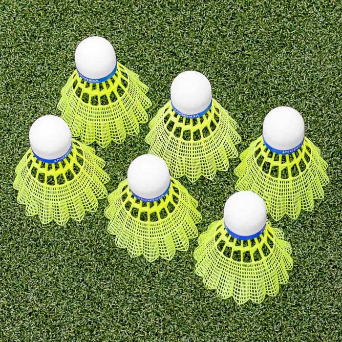 Vermont Club 100 Shuttlecocks | Nylon Skirt With a Cork Tip | Pack of 6 | White or Yellow | Net World Sports