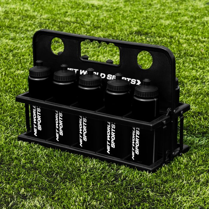 Complete Set Of 10 Drinks Football Water Bottles With Drinks Carrier