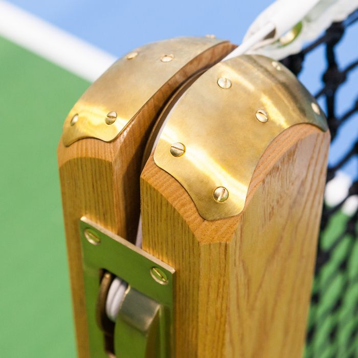 Elite Treated Wood Tennis Post With Brass Plates For Supreme Durability | Net World Sports