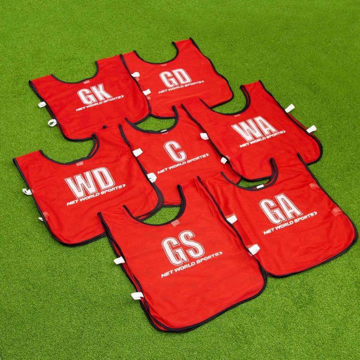 Red Netball Bibs For a Full Team | Net World Sports