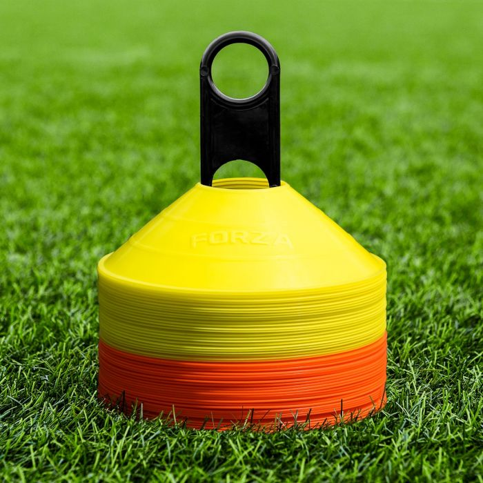 Orange And Yellow Training Marker Cones With Cone Stand