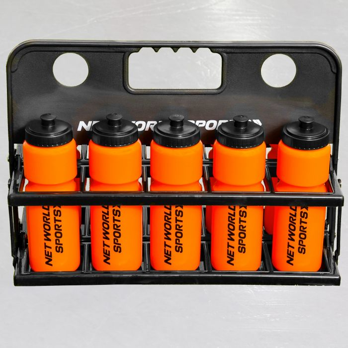 10 Orange Hockey Bottles & Carrier