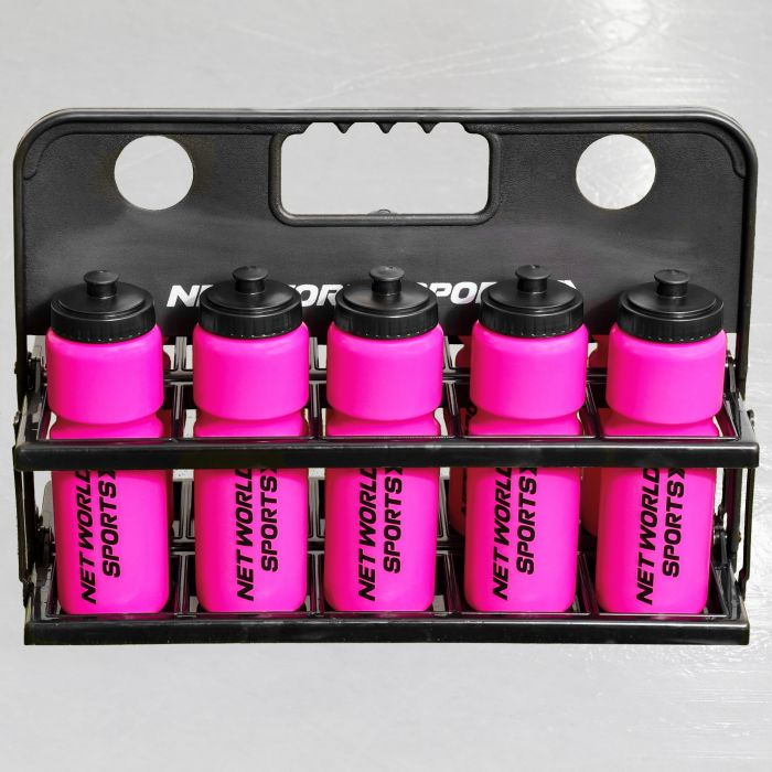 10 Pink Hockey Bottles & Carrier
