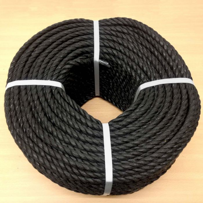 6mm Black Poly Rope 220m Coil