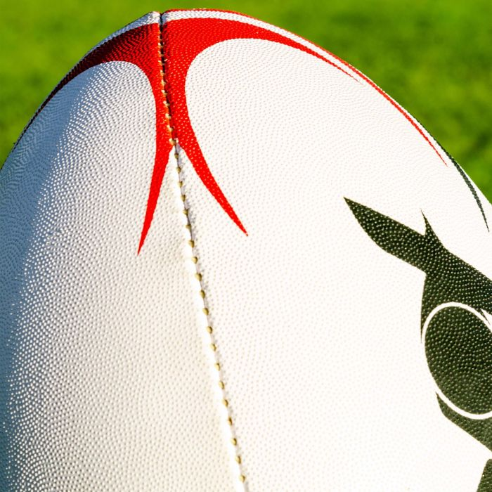 White, Red & Black Rugby Ball