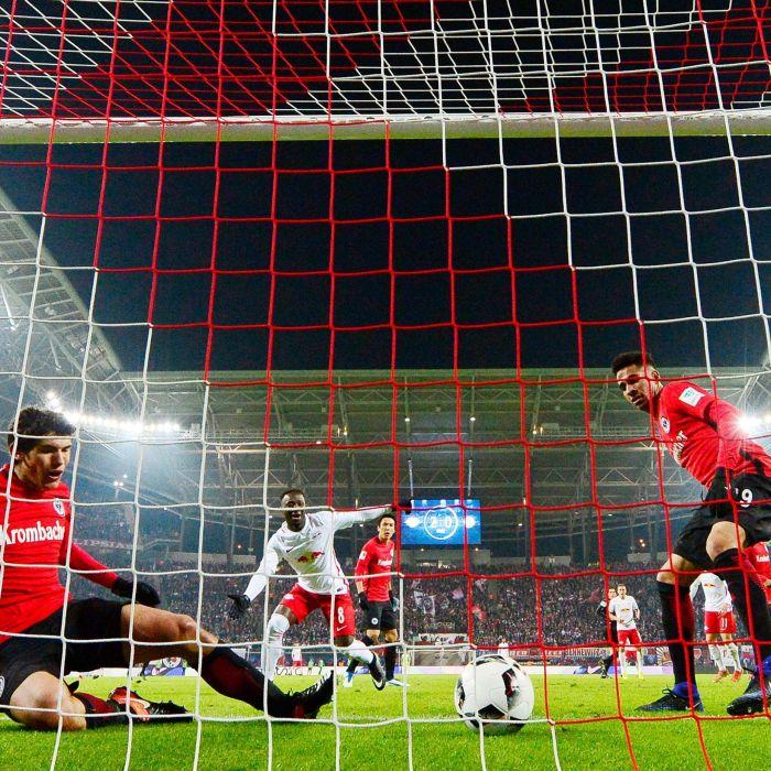Red & White Football Nets - Professional Soccer Box Nets [Stadium Goal Nets]