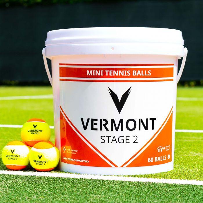 Vermont Mini Orange Tennis Balls | Stage 2 | Ideal For Tennis Development | Net World Sports