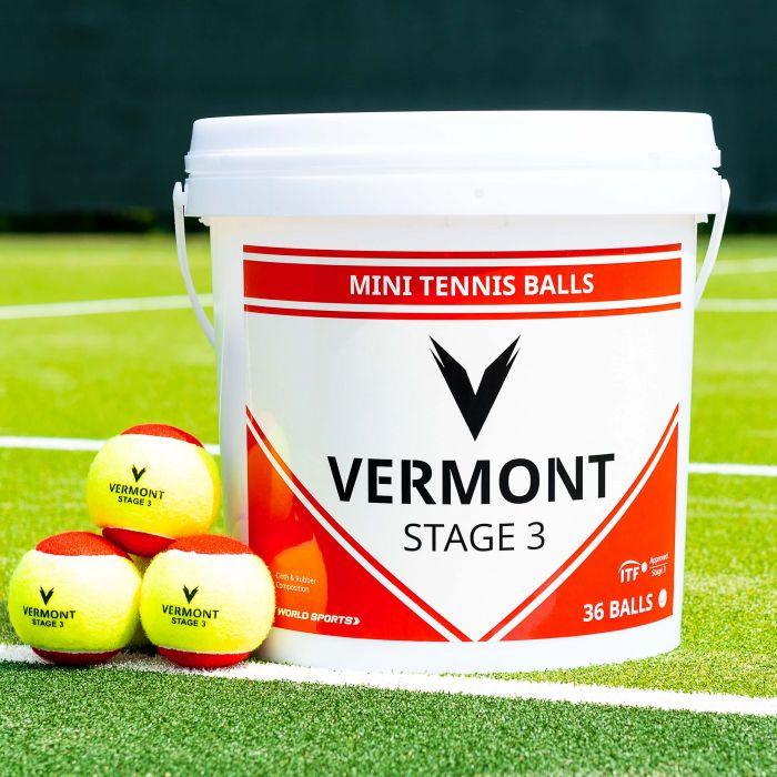 Bucket of Vermont Mini Red Tennis Balls (Stage 3 Tennis) | Net World Sports