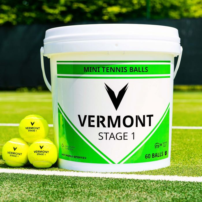 Vermont Stage 1 Tennis Balls Bucket On Court | Net World Sports