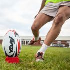 Kicking Tee And Competition Rugby Ball