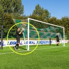 Pair of hinged bars for stadium goals